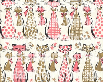 Vintage Cat Wrapping Paper, Siamese, Birthday, Pink Cat, Bowtie Cat, Mid Century Modern, Kitsch, Checker, Polka Dot Cat, Gold, Kitty, Kitten