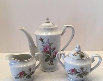Pink Rose Design Teapot ~ Sugar Bowl ~ Creamer ~ Vintage