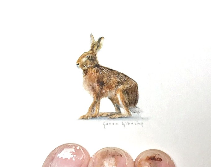 Print of Miniature painting of a Hare, tiny painting Hare Rabbit art 5 x 5