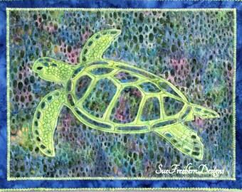 Sea Turtle Silhouette Art Quilt Pattern INSTANT DOWNLOAD