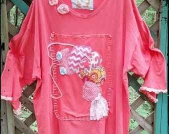 Jumbo Shrimp Plus Size Ladies Art Tunic Ready to Ship