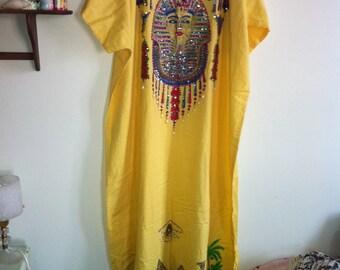egyptian bright yellow sequined beaded cleopatra pyramid caftan dress