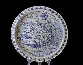 Vernon Kilns Map Plate Massachusetts, Decorative Plate, Souvenir Plate
