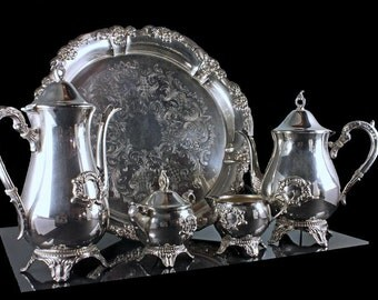 Silver Plated Coffee/Tea Set, Viners Silver Plate, 6 Piece Tea Service, Tea Service, Coffee Service