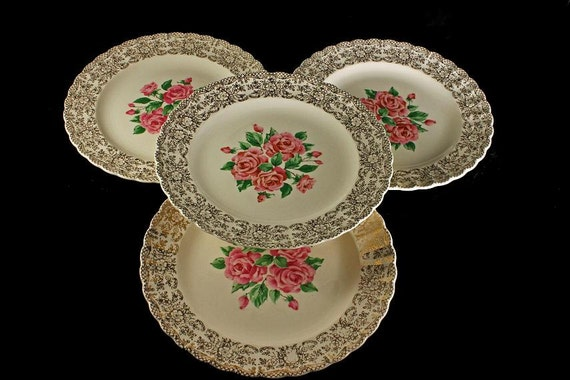 Dinner Plates, Sebring Pottery, China Bouquet, Pink Roses, Gold Filigree Trim, Set of 4