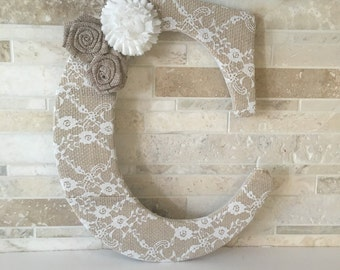 Lace burlap letter - bridal shower -  wedding - baby shower - nursery decor -  with 3 flowers 12""