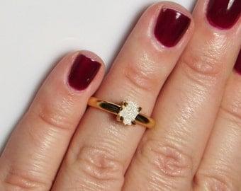 Real Raw Diamond Ring, Rough Diamond Ring, 1.50 Carat Uncut Diamond Ring, Anniversary Ring, Engagement Ring