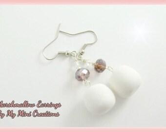 Marshmallow Earrings, Miniature Food, Miniature Food Jewelry, Polymer Clay