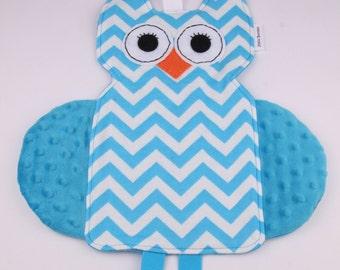 Owl Crinkle Tag Toy, Baby Lovie, Minky Blanket, Baby Shower Gift, Baby Crinkle Toy, Sensory Toy, Tag Security Blanket, Baby Boy