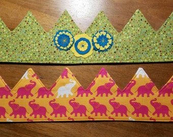 """In person only! Reversible and adjustable fabric crown with FELT in 18"""" and 21"""" sizes."""