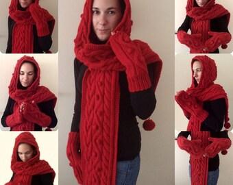 écharpe - capuche femmes et des gants / main deux aiguilles /sur commande
