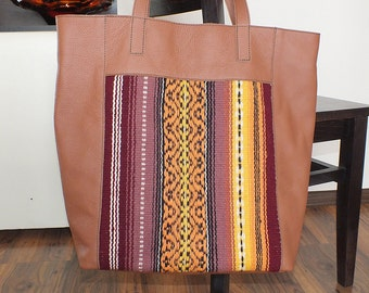Brown leather handbag, boho chic handbag, unique handbag made of the handwoven wool fabric and genuine leather