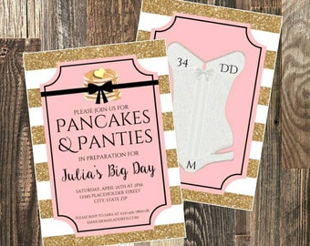Pancakes and Panties Bridal Shower Invite - Lingerie Party - DIY Printable File -  Gold and Pink
