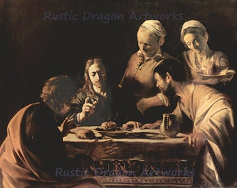 "Caravaggio ""Supper at Emmaus"" 1606 Reproduction Digital Print Jesus Christ Resurrected Disciples Luke Cleopas Catholic"