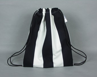 Child/small drawstring backpack bag - made with a black and white stripe cotton fabric