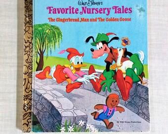 "Little Golden Book 106-4 ""Favorite Nursery Tales""  Walt Disney's  1977 / 13th Printing /The Ginerbread Man/The Golden Goose/Goofy /Donald"