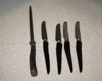 Bone handled knives and sharpener set