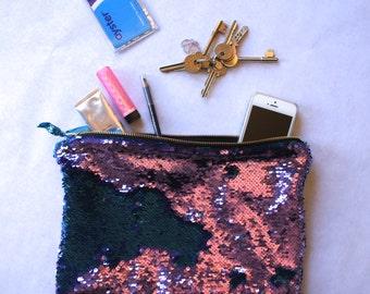 Sequin Clutch Bag Party Zipper Pouch Purple and Blue