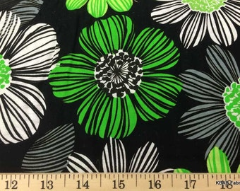 Lime & Black LARGE FLORAL Fabric By Yard, Half, Fat Quarter Bold Flowers 100% Cotton Quilting Apparel Fabric BTY w7/30