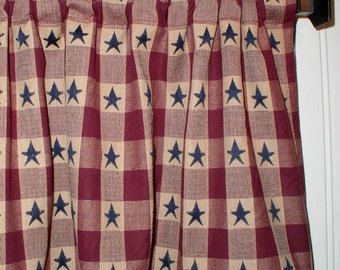 Americana Valance Navy Star Burgundy Plaid Homespun Valances USA America  Red White Blue Navy Star Country