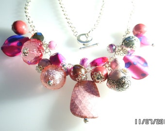 Hot Pink Sparkly Cluster Charm Necklace Silver Plated Toggle Clasp