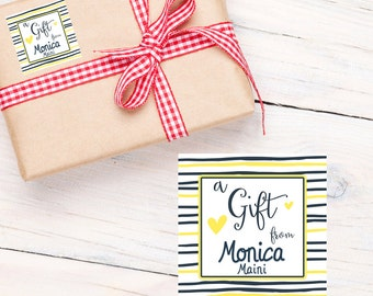 Gift Tag Stickers- Personalized Gift Labels - Happy Birthday Labels, Lemon Stripes