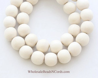 Bulk Lot 10mm Wood Beads - IVORY WHITE - Round - 390 to 400 Beads - Natural - Wholesale Wooden Beads - Fast Ship - Usa Seller 0548DBulk