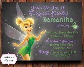 Tinkerbell Birthday Invitation, Tinkerbell Invite, Fairy Invitation, Fairy Birthday Party, Pixie Dust, Magical, Peter Pan, Winx Club, Theme