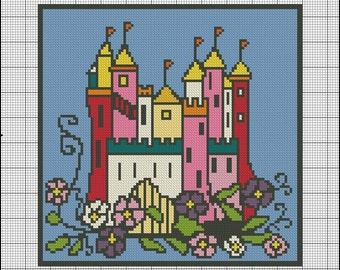Medieval Castle Needlepoint or Crosstitch Pattern