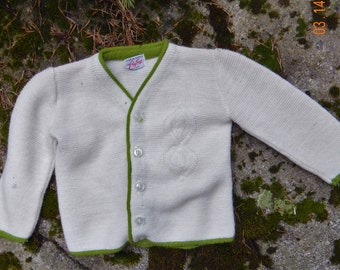 Boys Button Front Cardigan - White with Green Trim Size 2