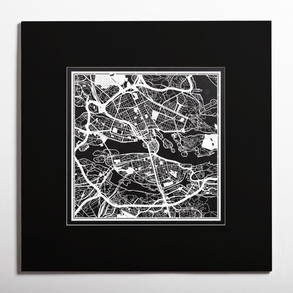 Paper Cut Map Stockholm Matted 2020 In Color Alternative