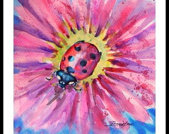 "Original Water Color painting, Insect Ladybug with red flower, with Mat 10""x8"", 150227"