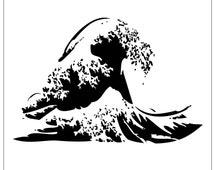 Wave on Reusable Laser-Cut Stencil - pearldesignstudio
