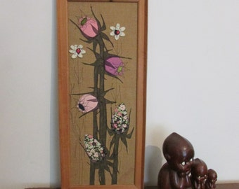 1960s/70s framed appliqué flower collage wall art