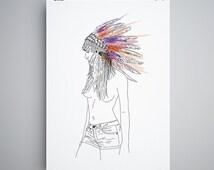Poster, native american, naked women, indian headdress,  nude, girlfriend gift, fashion