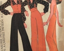 McCall's 3813 vintage 1970's junior misses blouse, vest and high-waisted pants sewing pattern size 11 bust 34 waist 26