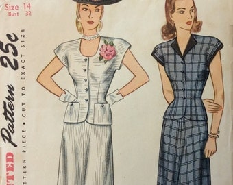 Simplicity 1631 misses two-piece dress size 14 bust 32 vintage 1940's sewing pattern