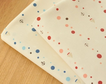 Japanese Fabric, Cotton twill fabric with Polka Dots, Sailing Boats and Anchors, for baby clothes, Red and Blue - 1/2 yard