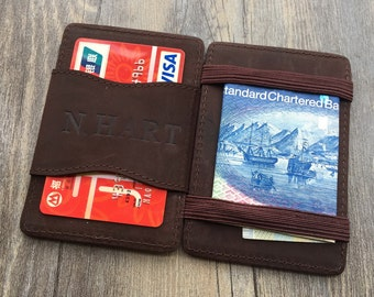 Magic wallet,Initial magic card holder,business card cases,handmade,Genuine leather wallet,Christmas gifts for him,unique gifts,Groomsman