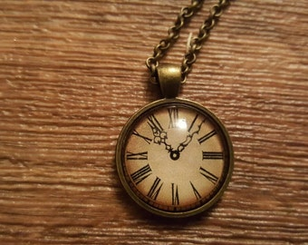 Tan clock face pendant necklace
