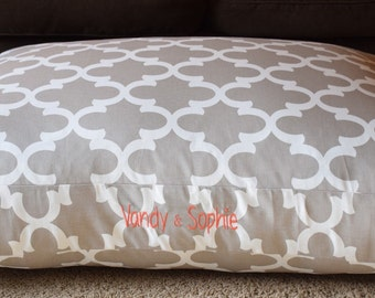 Personalized Dog Bed || Grey Quatrefoil Custom Pillow Cover || Dog Gift by Three Spoiled Dogs