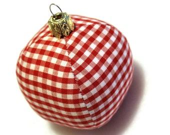 Ball bauble Christmas ornament Eisbaerchenmama 6 cm fabric ball Christmas Plaid red white unbreakable