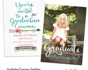 Modern Calligraphy Boho Senior Graduation Announcement & Graduation Ceremony Invitation Customized for you! Coral, Aqua, 5x7