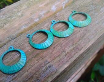Aged Brass hoops hand patina verdigris finish