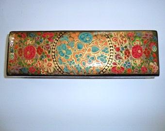 Russian Hand-Painted Golden Design Rectangular Lidded Box