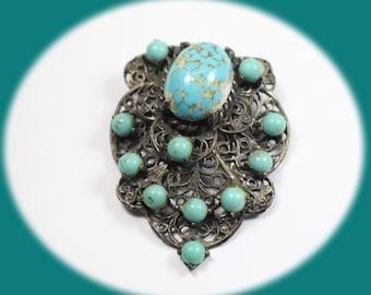 Vintage Faux Turquois Fur Clip Silver Tone Fur Clip Vinatge Jewelry Costume Jewelry Vintage Fashion Jewelry