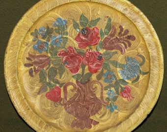 Vintage Hand Painted Flower Wood Wall Hanging Plate