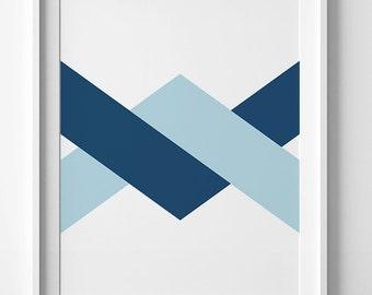Printable art, navy chevron wall art print, navy blue printable poster, chevron print, geometric printable wall art, chevron printable decor