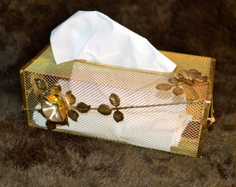 Golden wire mesh Facial Tissue Dispenser, Kleenex Box