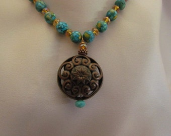 Copper Medallion and Stone Necklace